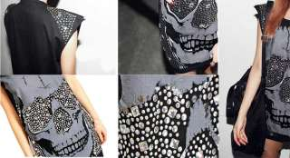NEW Women Girls Punk Rivet Skull Print Vest T shirt No Sleeve Tee Top