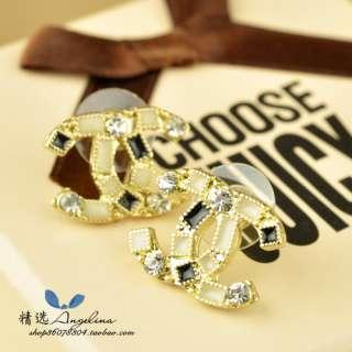 Black Rhinestone Cross C Stud Earring Vintage Jewelry Girls Earrings
