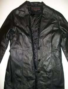 PHASE TWO Long Lined GENUINE LEATHER Black Straight Fit NICE