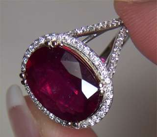 Estate 9.01 ct CERTIFIED Natural Red Ruby Diamond Vintage Cocktail