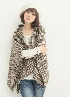 Fashion Korean Women Lattice Cape Coat 2 Color 0694