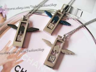 HOT Womens Rhinestone Angel Wing Square Pendant Mens Necklace Silver