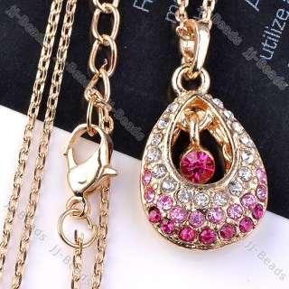 1P Pink Crystal Rhinestone Bead Teardrop Pendant Gold Plated Chain