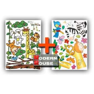 Modern House Giraffe Zebra Money Bird and Frieds (2 pages