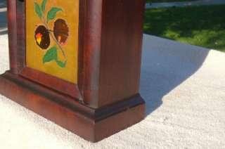 Original Ansonia Gothic Steeple Shelf Mantle Clock Case Painted Glass