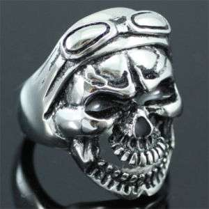 Gothic Skull with Big Goggles Stainless Steel Ring R088