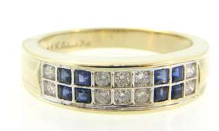 Natural Sapphire & Genuine Diamond Solid 14K Gold Ring