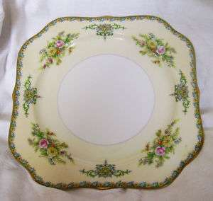 LUNCH PLATES {M} FINE CHINA~SQUARE SALAD DISH~ANTIQUE GREEN PINK GOLD