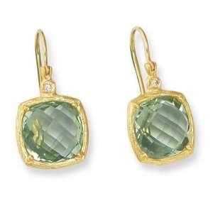14K Yellow Gold Prasiolite (Green Amethyst) and Diamond Accent Dangle