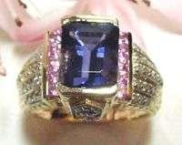 GENERATIONS 1912 IOLITE PINK SAPPHIRE DIAMOND RG 14ktyg