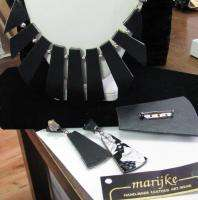 1980s MARIJKE LEATHER NECKLACE Set BLACK & SILVER