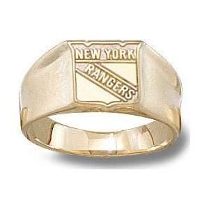 New York Rangers Solid 14K Gold Shield Logo 3/8 Ring