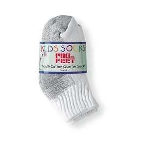 Pro Feet Kids Quarter 6 Pack   White/Grey Kids 6/8: Sports & Outdoors