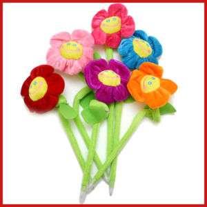 Happy Face Plush Flower Ball Point PEN Set (set of 6)