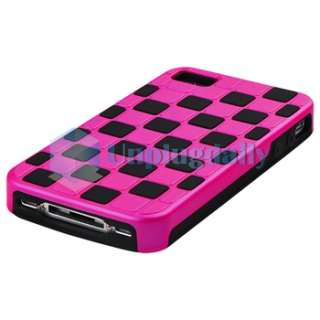 Purple Hard +Pink Hybrid Slim Checkered Case Cover For iPhone 4 4S