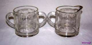 Vintage Indiana Glass Etched Grape Sugar & Creamer Gold