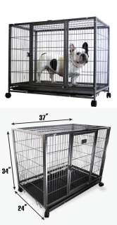 37 Dog Kennel w Wheels Portable Pet Puppy Carrier Crate Cage Heavy