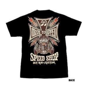 Mooneyes T Shirt Black Equipped Speed Shop Mens Large L Tshirt VW