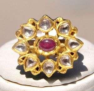 BEAUTIFUL ANTIQUE 23KT GOLD DIAMOND RUBY MOGHUL RING