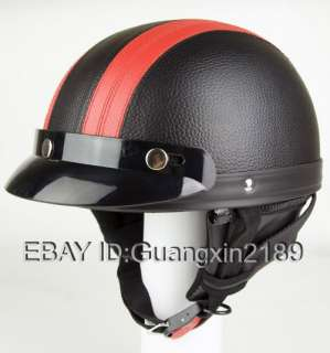 Black & Red Leather Open Face Helmet Goggles Free