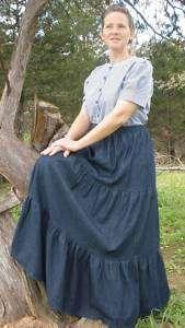 long full tiered blue jean skirt modest denim pick size & color