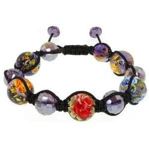 Murano Glass & Crystal Beads On Macrame Silk Cord Bracelet Jewelry