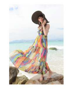 Women Korean Spaghetti Strap Chiffon Full Length Dress,One Size