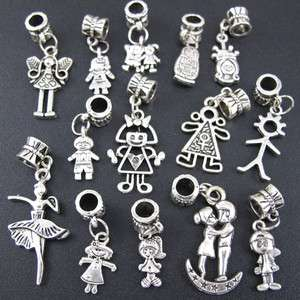 Wholesale 100x Tibetan Silver Mix Boy&Girl Dangle Charm Beads Fit