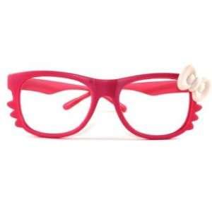 Hello Kitty Bow Pink w/ White Bowtie Frame Girl Glasses Women Costume