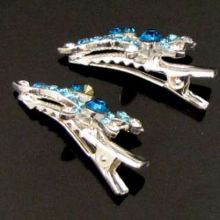 SHIPPING 2pc Rhinestone crystal butterfly hair clamp clip pin