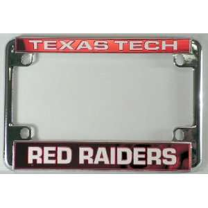 Red Raiders Chrome Motorcycle License Plate Frame