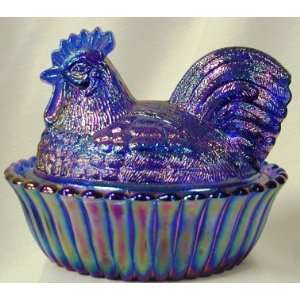 Westmoreland 5 Covered Rooster   Cobalt Blue Carnival