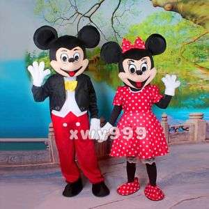 Lovely Mickey and Minnie Mouse Mascot Costume Cartoon 076783016996