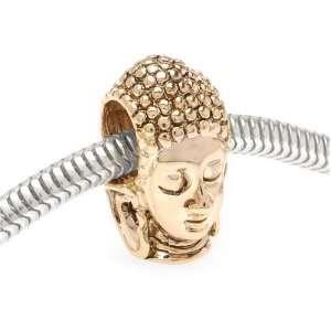 22K Gold Plated Buddha Head Large Hole Bead Fits Pandora