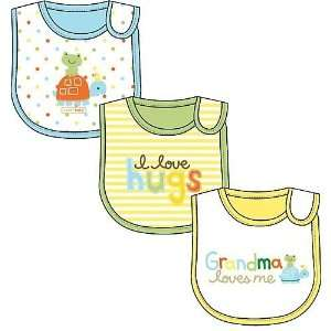 Happy Bibs 3 Pack Grandma Loves Me, I Love Hugs, Sweet Baby Baby