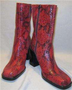 MIA SNAKE SKIN BOOTS LEATHER FASHION Boots MID CALF RED BOOTS 8.5