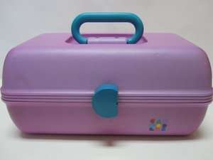 Vintage Purple Make Up Cosmetics Carrying Train Case w Mirror & Tray