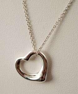 Tiffany ELSA PERETTI Sterling Small OPEN HEART Pendant Necklace
