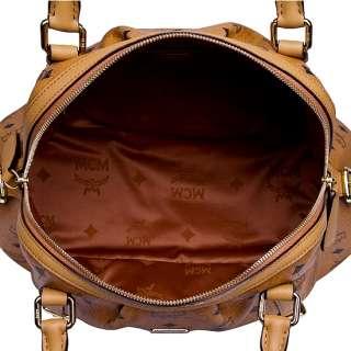 New Authentic MCM Vintage VISETOS Boston Bag Medium NWT_Cognac