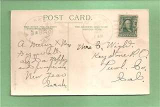 CHRISTMAS Vingtage 1908 HOLD TO LIGHT HTL German Made Postcard  LOVELY