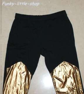 black silver gold merged leggings tight pants rock punk