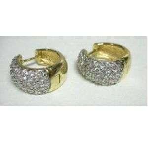 Gold Plated Sterling Micro Pave 2.00ct CZ Huggie Hoop Earrings