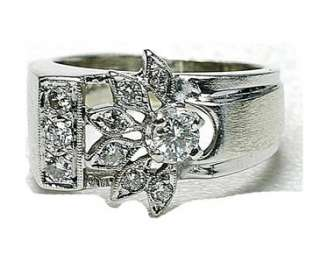 Vintage 14k White Gold & diamond ladies ring 1950s