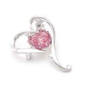 Perfect Gift   High Quality Graceful Heart Brooch with Pink Swarovski