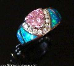 BLUE OPAL PINK SAPPHIRE 925 STERLING SILVER RING 9 /1