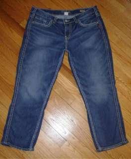 Womens SILVER *FRANCES CAPRI* Cropped Jeans Capris 18 x 26.5 Thick