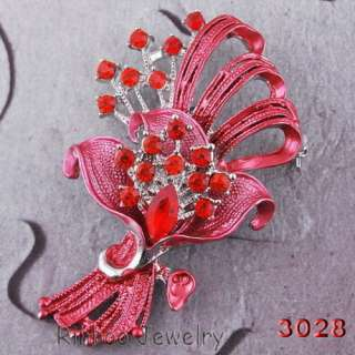 Hold flowers 6Colors 60*38MM Brooch Pin White Gold Plating Czech