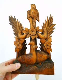 Antique 19 20C. American Folk Art Carved Wood Bird & Fern Diorama