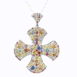 Mastini Cross of Sapphire and White Gold Pendant and Chain Mastini