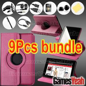 Pink For Kindle Fire PU leather Case Cover/Car Charger/USB Cable